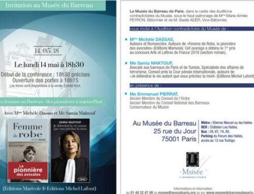 Audition lundi 14 mai – 18h30 – Les femmes au Barreau : des pionnières à aujourd'hui