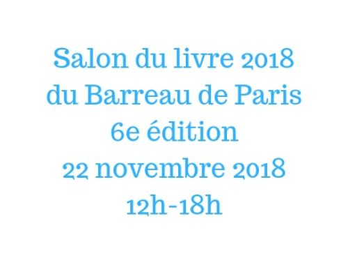 Salon du Livre du Barreau de Paris- 22 novembre 2018