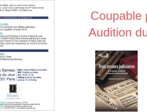 Coupable puis Innocent ? – Audition du 14 mars