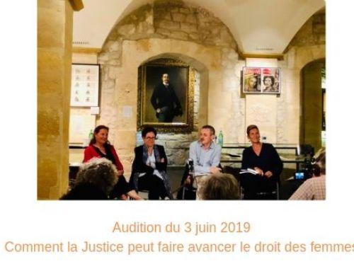 Comment la justice peut faire avancer le droit des femmes – Audition du 3 juin 2019