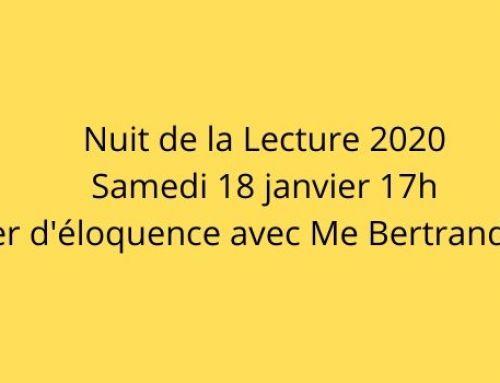 Nuit de la Lecture 2020 – Atelier d'éloquence avec Me Bertrand Périer