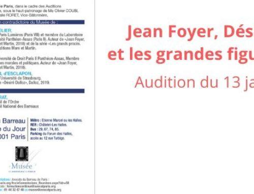 Jean Foyer, Désiré Dalloz et les grandes figures du droit – audition 13 janvier 2020