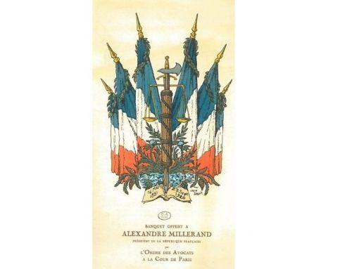 L'objet de la semaine : Menu du banquet offert à Alexandre Millerand, Président de la République
